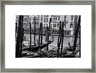 Gondolas In Venice 3 Framed Print by Design Remix