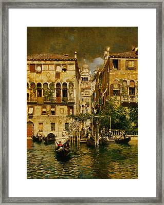 Gondolas Leaving A Residence On The Grand Canal Venice Framed Print