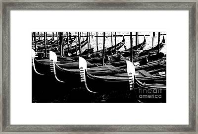 Gondolas Lined Up Framed Print by Jacqueline M Lewis