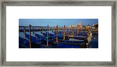 Gondolas Moored At A Harbor, Santa Framed Print by Panoramic Images