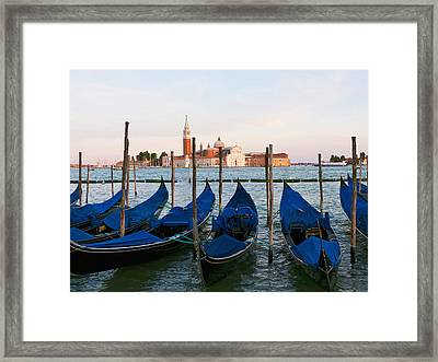 Gondolas On The Grand Canal By St Marks Framed Print