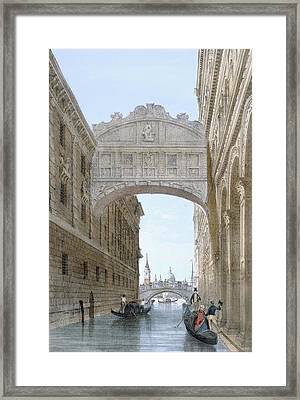 Gondolas Passing Under The Bridge Of Sighs Framed Print by Giovanni Battista Cecchini