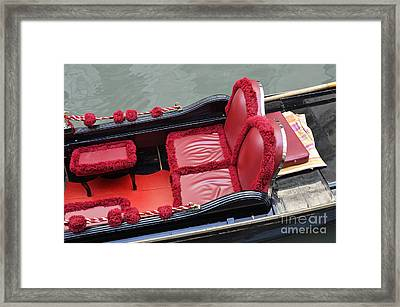 Gondolas Red Seats By Canal Framed Print