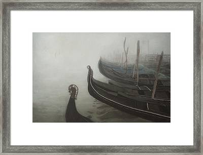 Gondolas Tied Up Framed Print