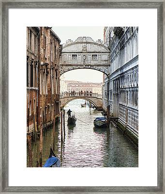 Gondolas Under Bridge Of Sighs Framed Print