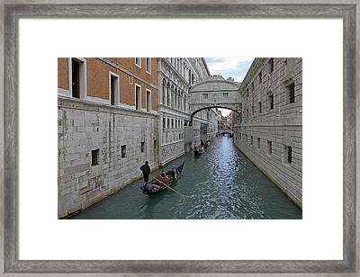 Gondolas Under Bridge Of Sighs Framed Print