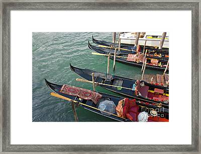 Gondolas Waiting For Tourists In Venice Framed Print by Kiril Stanchev
