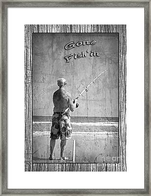 Gone Fish'in Black And White With Driftwood Border By John Stephens Framed Print by John Stephens