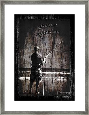 Gone Fish'in Dark With Text Rustic Wood Border By John Stephens Framed Print by John Stephens