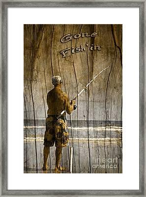 Gone Fish'in Text Driftwood By John Stephens Framed Print by John Stephens