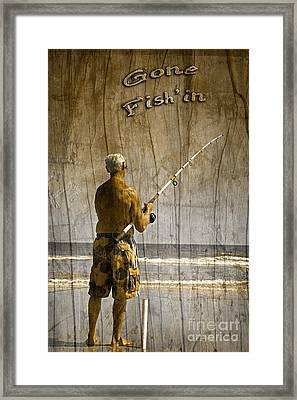 Gone Fish'in With Text Driftwood By John Stephens Framed Print by John Stephens