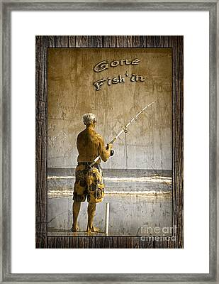 Gone Fish'in With Text Rustic Wood Border By John Stephens Framed Print by John Stephens