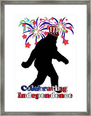 Gone Squatchin - Celebrating Independence Framed Print by Gravityx9   Designs