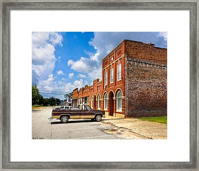 Gone To Town - Main Street - Rural Georgia Towns Framed Print by Mark E Tisdale