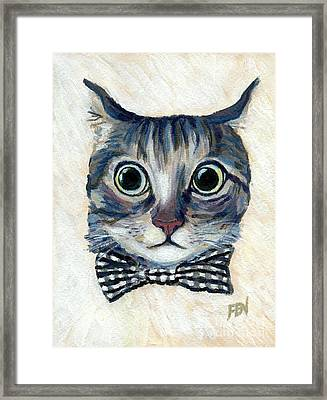 Good Boy Cat With A Checked Bowtie Framed Print