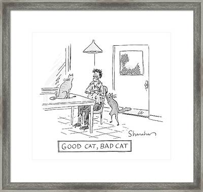 Good Cat, Bad Cat Framed Print