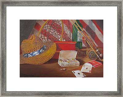 Framed Print featuring the painting Good Day Fishing by Tony Caviston