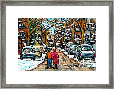 Good Day In January For Winter Stroll Snowy Trees And Cars Verdun Street Scene Painting Montreal Art Framed Print
