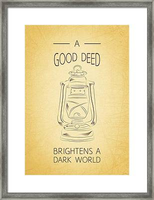 Good Deed Framed Print by Nancy Ingersoll