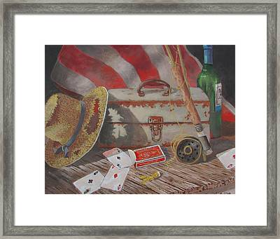 Framed Print featuring the painting Good Fishing Day by Tony Caviston
