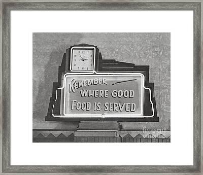 Good Food Is Served Framed Print