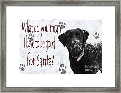 Good For Santa Framed Print by Cathy  Beharriell