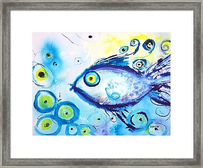 Good Luck Fish Abstract Framed Print by Carlin Blahnik