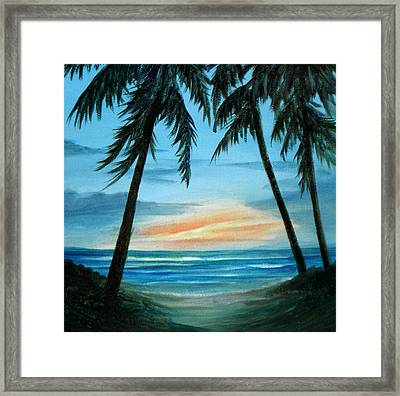 Good Morning Sunshine - Seascape Sunrise And Palm Trees By Rosie Brown Framed Print by Rosie Brown