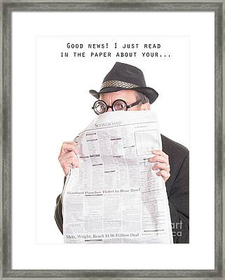 Good News Framed Print by Edward Fielding