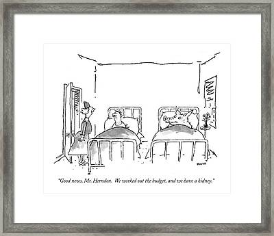 ?good News, Mr. Herndon.  We Worked Framed Print by George Booth