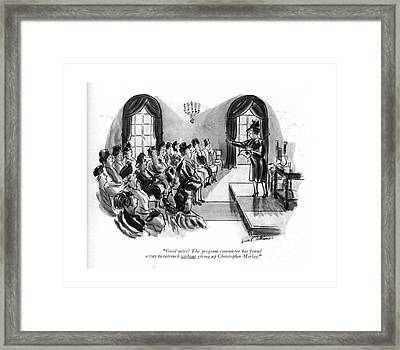 Good News! The Program Committee Has Found A Way Framed Print by Helen E. Hokinson