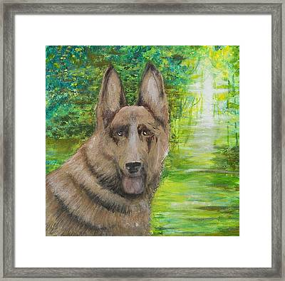 Framed Print featuring the painting Good Old Shep by Cathy Long