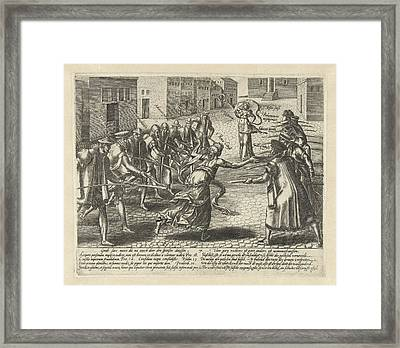 Good Thing Is Threatened, Hendrick Goltzius Framed Print by Hendrick Goltzius