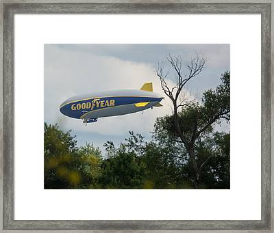 Goodyear Blimp Tree Top Flyer Framed Print
