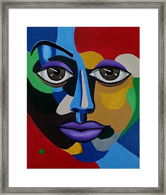 Google Me - Abstract Art Painting - Colorful Abstract Face - Ai P. Nilson Framed Print