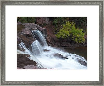 Framed Print featuring the photograph Gooseberry Falls In Slow Motion by James Peterson