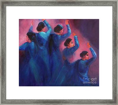 Gopis Dancing In The Dusk Framed Print