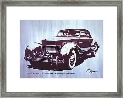 Gordon Buehrig's Dream Car  1936 Cord   Convertible Classic Automotive Art Sketch Rendering         Framed Print by John Samsen