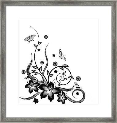 Gorgeous Black Corner Floral Design Framed Print by Christos Georghiou