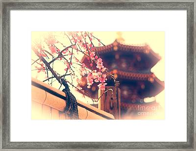 Gorgeous Pagoda And Plum Blossoms With Bamboo Fence Framed Print