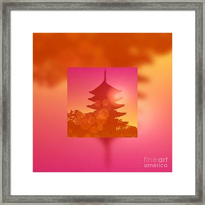 Gorgeous Pagoda Silhouette At Sunset Framed Print
