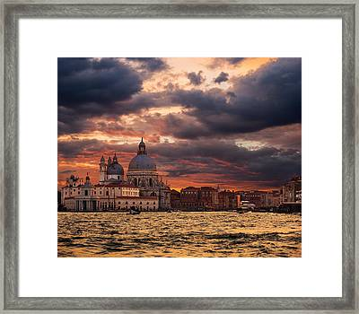 Gorgeous Sunset Over Grand Canal In Venice Framed Print by Gurgen Bakhshetsyan