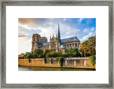 Gorgeous Sunset Over Notre Dame Cathedral Framed Print by Gurgen Bakhshetsyan