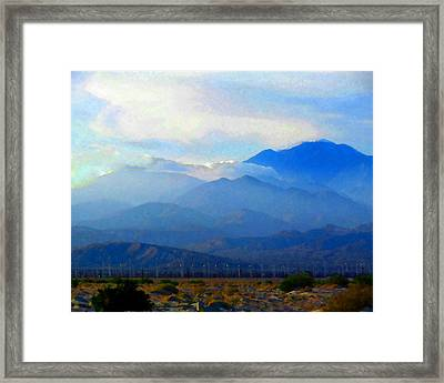 Gorgonio Pass And Mt. San Gorgonio Framed Print by Timothy Bulone