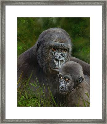 Gorilla And Baby Framed Print by David Stribbling