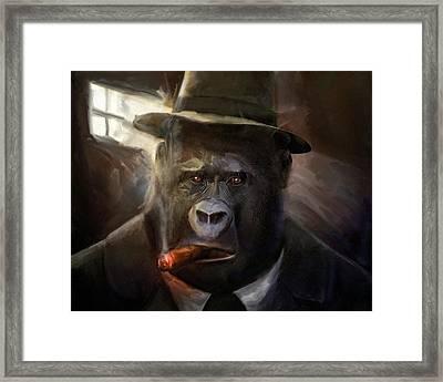 Gorilla Gangster Framed Print by Gustav Boye