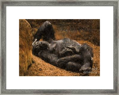 Gorilla - Painterly Framed Print by Les Palenik