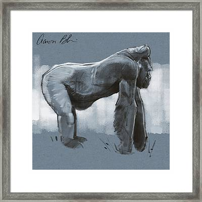 Framed Print featuring the digital art Gorilla Sketch by Aaron Blaise