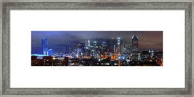 Gotham City - Los Angeles Skyline Downtown At Night Framed Print by Jon Holiday