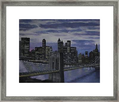Gotham Nyc Framed Print by Larry E Lamb
